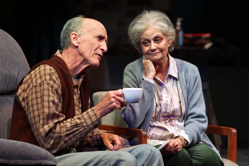 Hal Landon Jr. and Lynn Milgrim in South Coast Repertory's 2014 world premiere of Rest by Samuel D. Hunter. Photo by Debora Robinson/SCR.