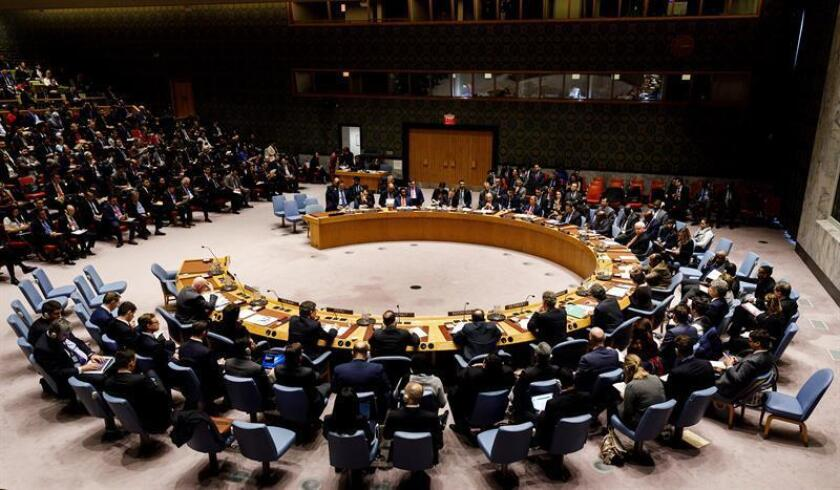 The UN Security Council holds a session on Venezuela at UN headquarters in New York on Tuesday, Feb. 27. EFE-EPA