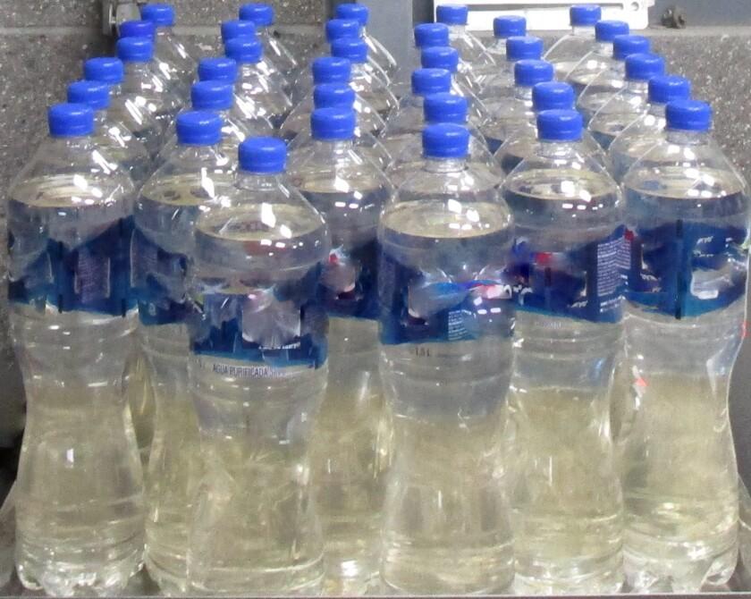 36 water bottles containing liquid methamphetamine