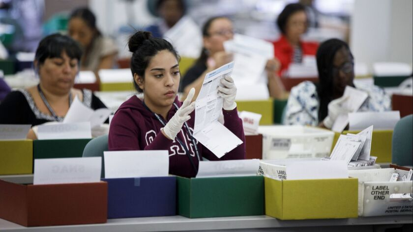 Mail-in ballots are sorted at the Los Angeles County Registrar-Recorder's office in Norwalk on Nov. 7, 2018.
