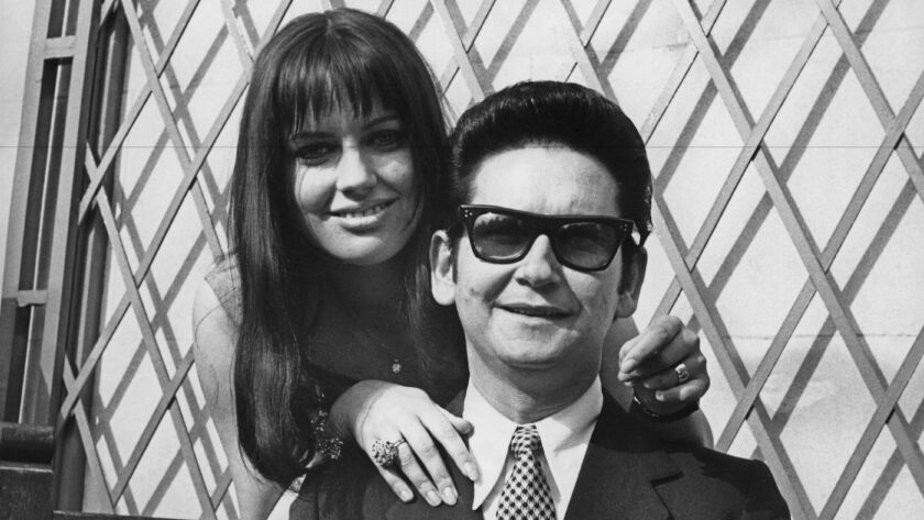 Roy Orbison and his wife, Barbara, during a tour of Britain in 1969.