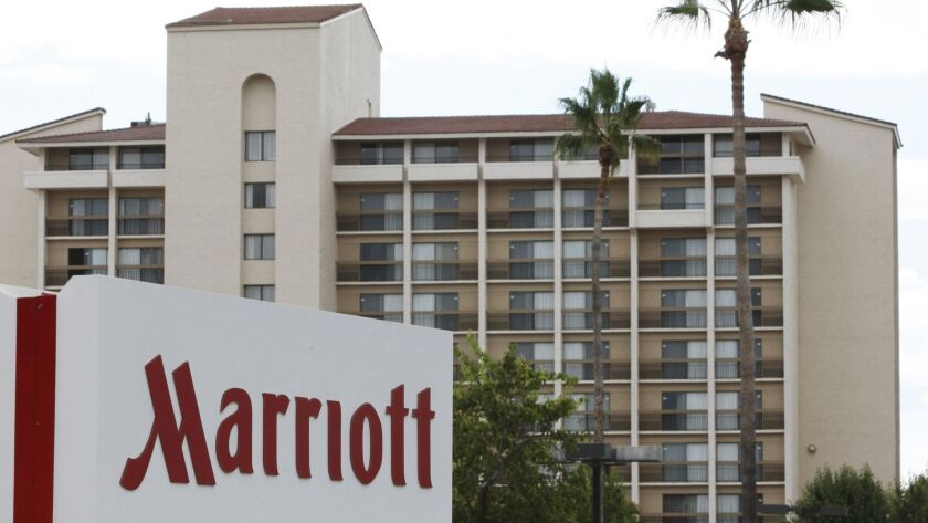 FILE - This Oct. 5, 2010 file photo shows the exterior of a Marriott hotel in Santa Clara, Calif. Ma