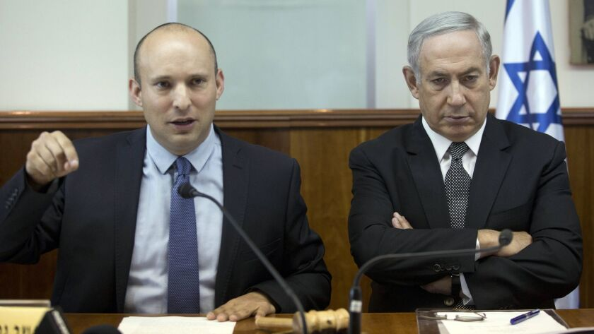 Israeli Prime Minister Benjamin Netanyahu, right, with Education Minister Naftali Bennett during a Cabinet meeting in Jerusalem in 2016.