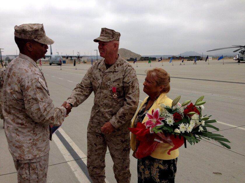 Marine Col. Wayne Steele and his wife Vicki at his retirement ceremony.