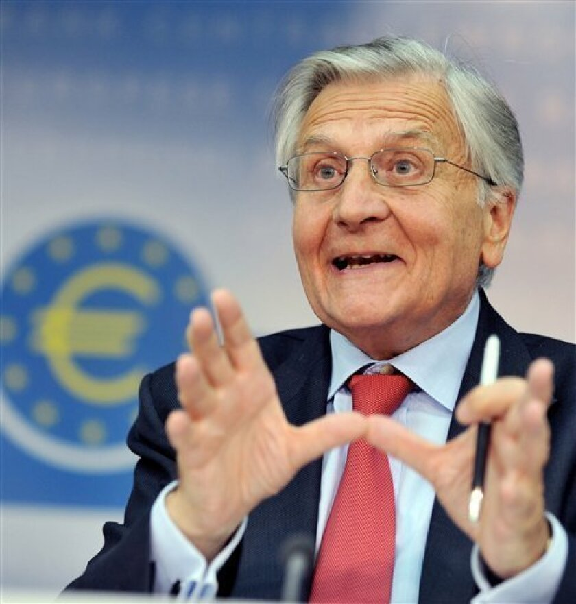 FILE - In this Sept. 2, 2010 file picture European Central Bank president Jean Claude Trichet, gesticulates during a press conference in Frankfurt, central Germany. The spotlight will fall on the European Central Bank on Thursday April 7. 2011 as markets look to see whether the bank will follow up an expected interest rate increase with further moves in the months to come as it seeks to snuff out rising inflation. Bank President Jean-Claude Trichet has made it clear that a spike in inflation is not the legacy he wants to leave when his term ends Oct. 31, and he has clearly signaled his determination to start raising rates despite the economic ripples from the disasters in Japan and turmoil in the Arab world and Europe's own debt crisis. (AP Photo/dapd/Thomas Lohnes,file)