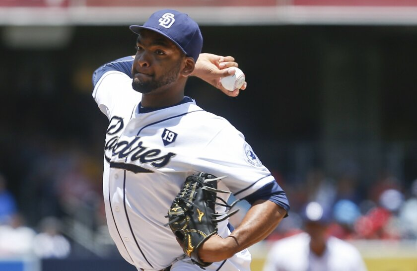 San Diego Padres starting pitcher Odrisamer Despaigne works against the St. Louis Cardinals in the first inning of a baseball game Thursday, July 31, 2014, in San Diego. (AP Photo/Lenny Ignelzi)