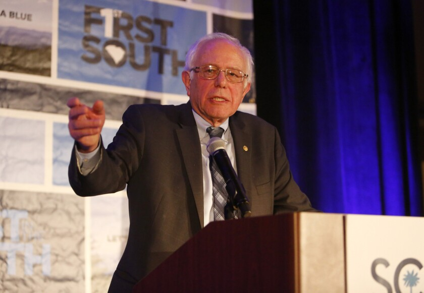Democratic presidential candidate Sen. Bernie Sanders (I-Vt.), speaks during the First in the South Dinner at the Charleston Mariott Saturday.