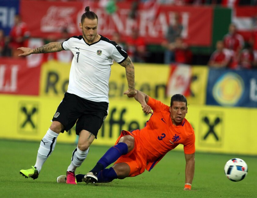 Marko Arnautovic of Austria, left, challenges Netherland's Jeffrey Bruma, during an international friendly soccer match between Austria and The Netherlands in Vienna, Austria, Saturday, June 4, 2016. (AP Photo/Ronald Zak)