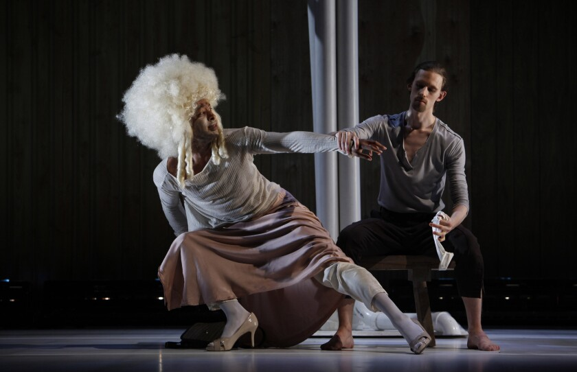 "Choreographer Kyle Abraham, left, with Jordan Morley, performs in drag in ""Watershed"" at UCLA."
