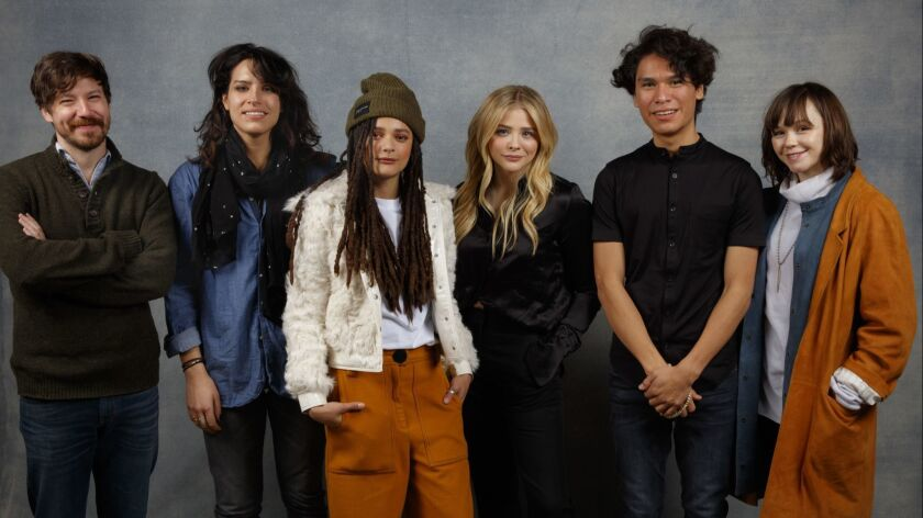 """Actor John Gallagher Jr., director Desiree Akhavan, actress Sasha Lane, actress Chloe Grace Moretz, actor Forrest Goodluck and actress Emily Skeggs from the film, """"The Miseducation of Cameron Post"""""""
