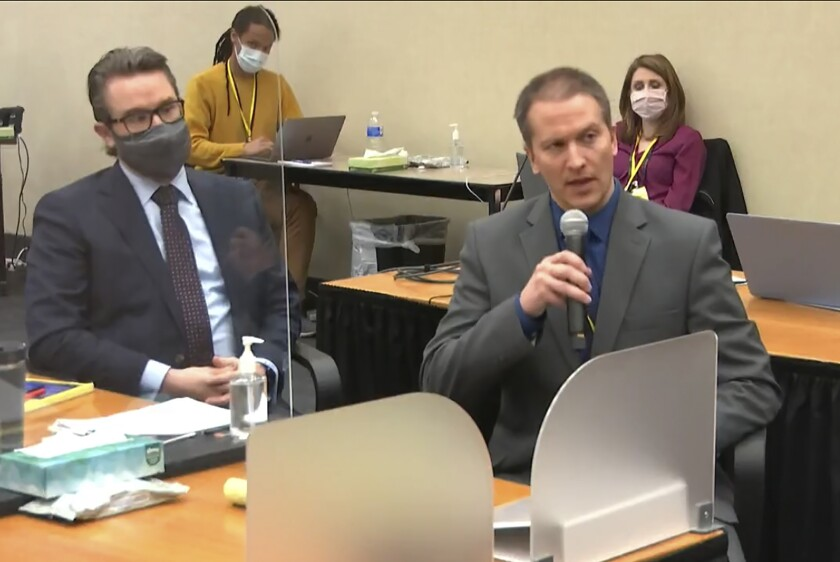 FILE - In this April 15, 2021, file image taken from video, defense attorney Eric Nelson, left, and defendant, former Minneapolis police officer Derek Chauvin, address Hennepin County Judge Peter Cahill at the Hennepin County Courthouse in Minneapolis. The Minnesota Supreme Court on Wednesday, Oct. 6, 2021, denied former officer Chauvin's request to have a public defender represent him as he appeals his murder conviction and sentence in the death of George Floyd. (Court TV via AP, Pool, File)
