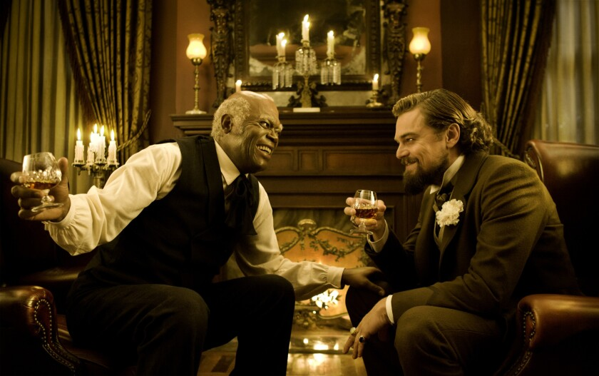 "Samuel L. Jackson and Leonardo DiCaprio star in the movie ""Django Unchained."""