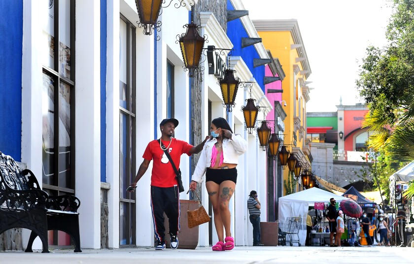 Customers walk at the Plaza Mexico in Lynwood