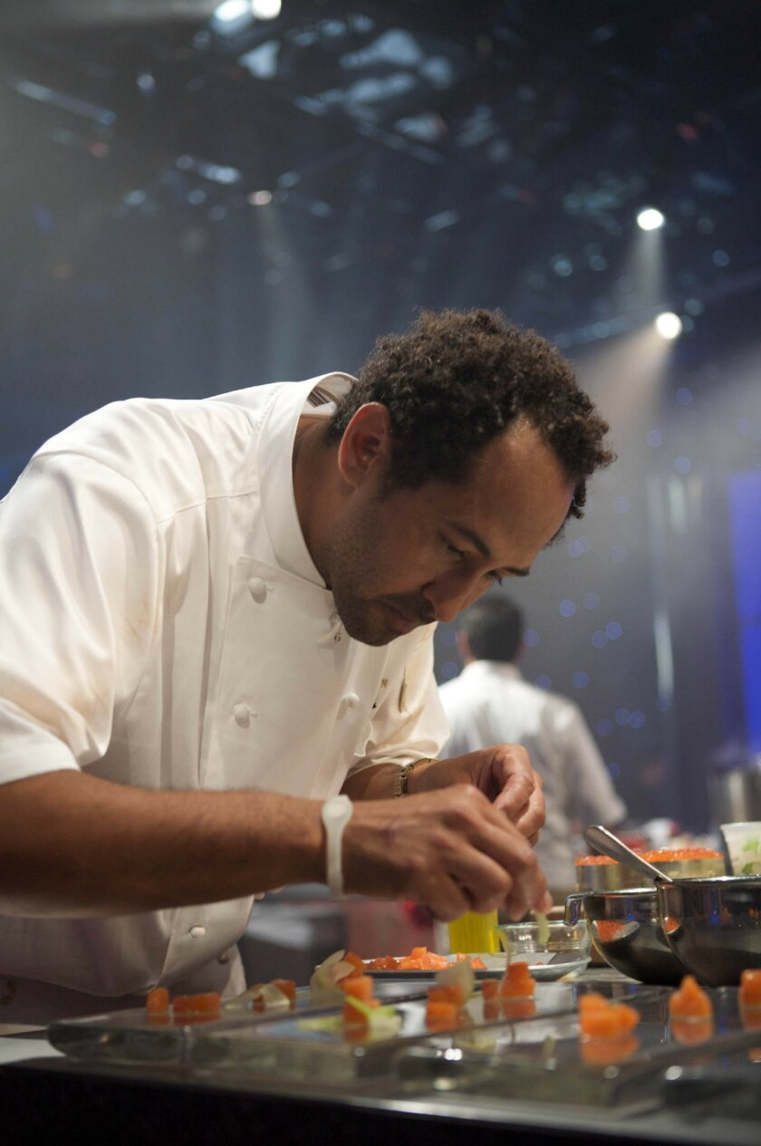 "Chef Jason Knibb during taping of his appearance on the Food Network's ""Iron Chef America."""