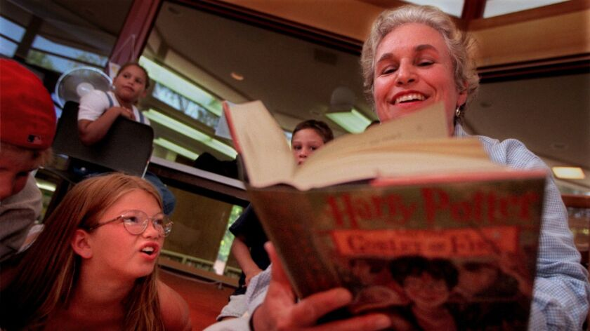 An afternoon meeting of the Harry Potter Club at the Taft Branch of the Orange Public Library in July of 2000.