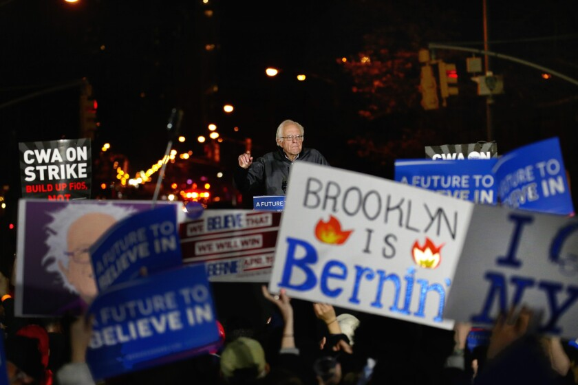 Democratic presidential candidate Bernie Sanders speaks at a rally at Washington Square Park in New York on Wednesday.