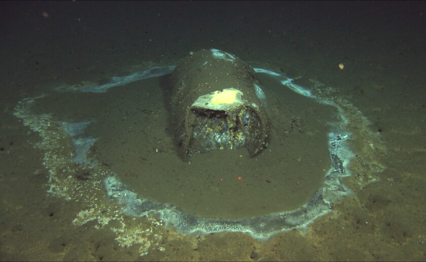 A discarded, leaking barrel sits 3,000 feet underwater near Catalina.