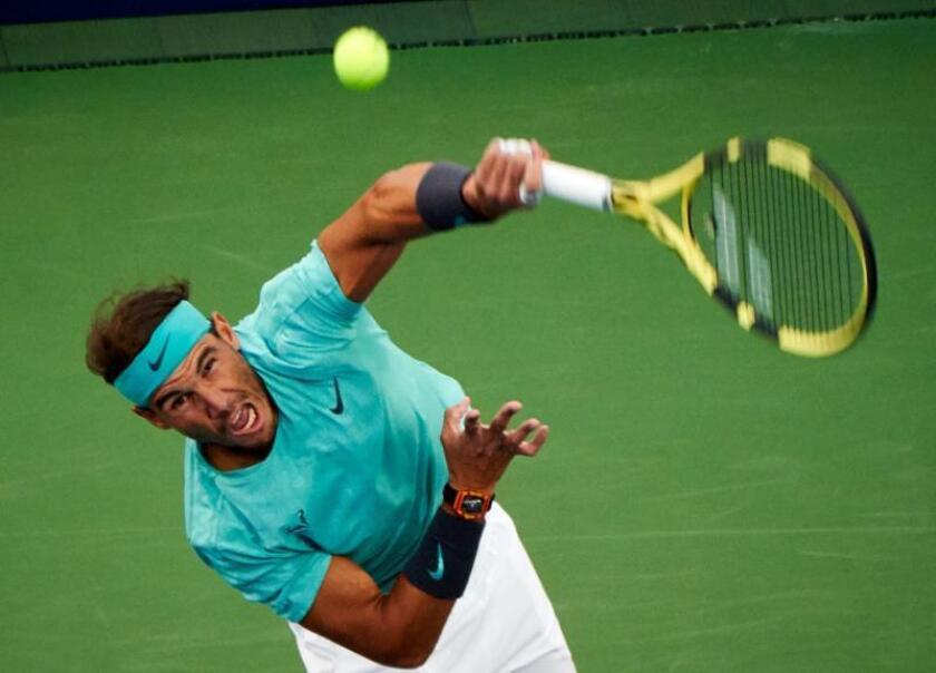 Rafael Nadal of Spain in action against Fabio Fognini of Italy during their quater-final match at the Rogers Cup tennis tournament in Montreal, Canada, 09 August 2019. (Tenis, Italia, España) EFE/EPA/VALERIE BLUM