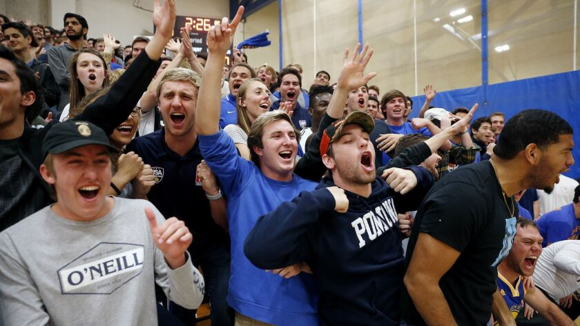 CLAREMONT, CALIF. -- SATURDAY, FEBRUARY 23, 2019: Pomona-Pitzer Sagehens student section shown in a
