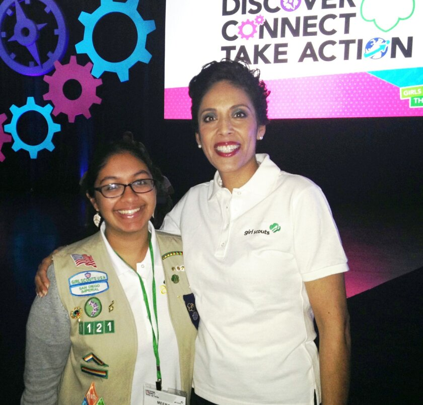 Meera Kota, a senior at Torrey Pines High School, pictured with Anna Maria Chávez, chief executive officer of the Girl Scouts of the USA.