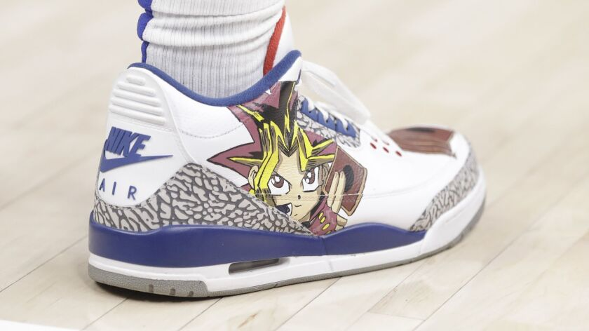 Los Angeles Clippers' Montrezl Harrell shoes are seen during the first half of an NBA basketball gam