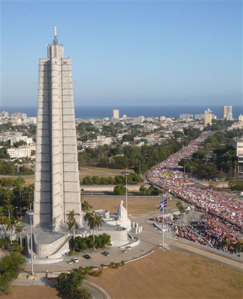 Thousands attend the May 1 parade to celebrate Labor Day in Havana, Friday, May 1, 2009. (AP Photo/Emilio Herrera, Prensa Latina)