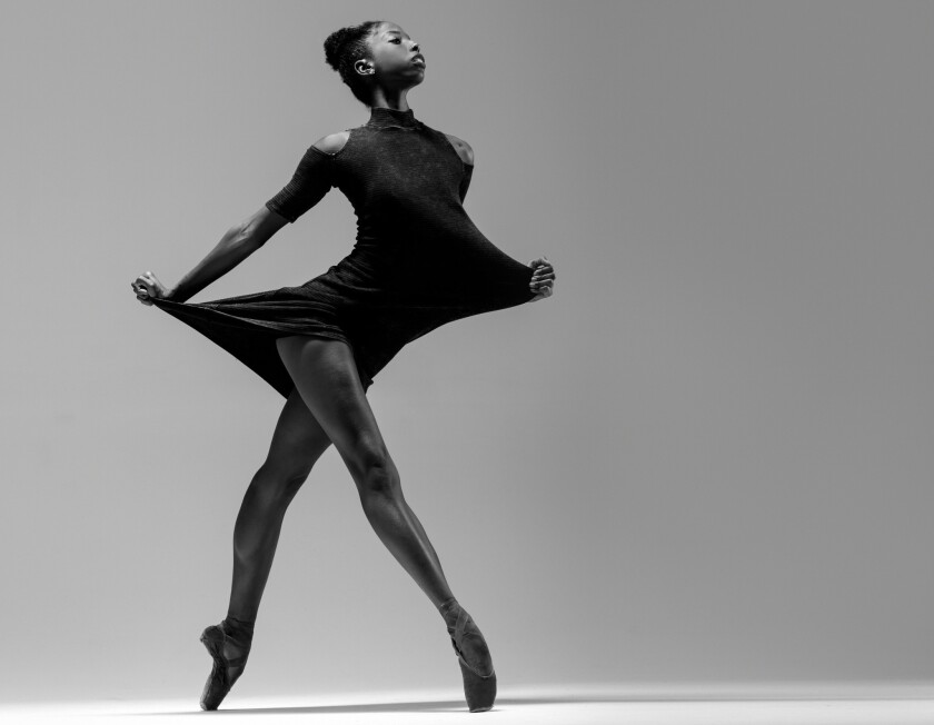 Ashley Mayeux, a dancer with Complexions Contemporary Ballet. The company will perform Friday through Sunday at at the Dorothy Chandler Pavilion.