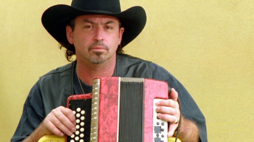 Chris Gaffney 12/24/94@@#39158Ñ Country–Rock musician Chris Gaffney with his accordion, at his Costa