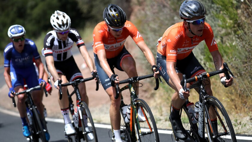 Evan Huffman leads the breakaway group during Stage 4 of the Tour of California on Wednesday.