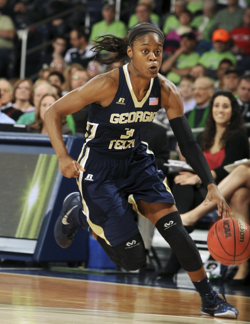 FILE - In this Jan. 22, 2015, file photo, Georgia Tech guard Kaela Davis dribbles against Notre Dame in the second half of an NCAA college basketball game in South Bend, Ind. South Carolina coach Dawn Staley has added a second-high profile transfer from the Atlantic Coast Conference in high-scoring Georgia Tech guard Kaela Davis. Staley announced the signing of Davis on Friday, May 29, 2015. (AP Photo/Joe Raymond, File)