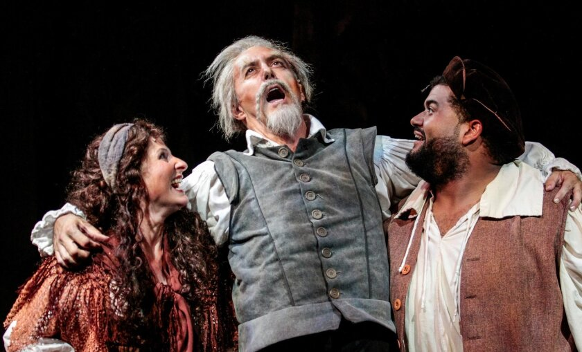 "Erika Beth Phillips, Sean Murray and Bryan Barbarin (left to right) in Cygnet Theatre's ""Man of La Mancha."""