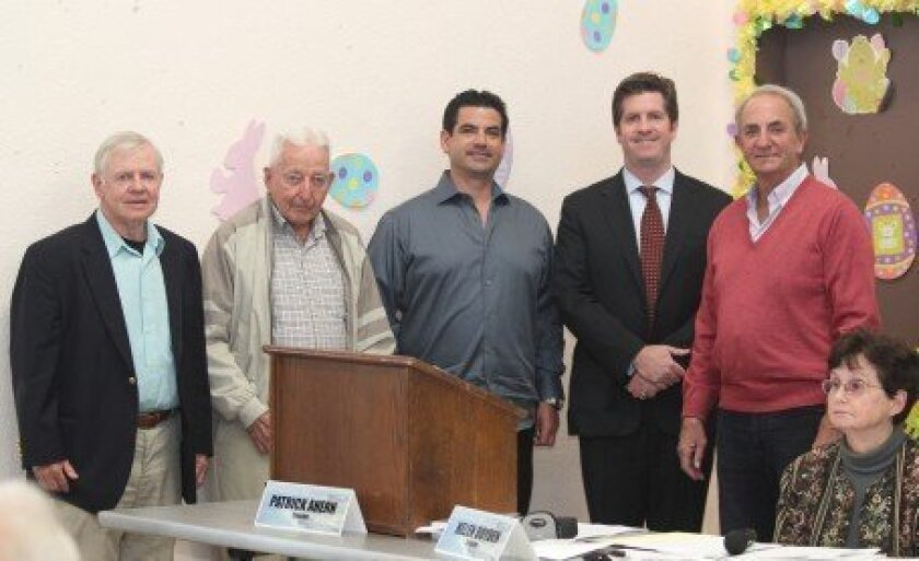 Recently elected La Jolla Community Planning Association board trustees (from left): Jim Ragsdale, Bob Collins, Robert Mapes, Alex Outwater and Rob Whittemore (not pictured is new board president Joe LaCava). Trustees take a vow to fairly and impartially consider all points of view, refrain from se
