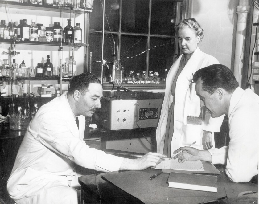 Dr. Sidney Farber, left, circa 1950, is considered the father of modern chemotherapy.