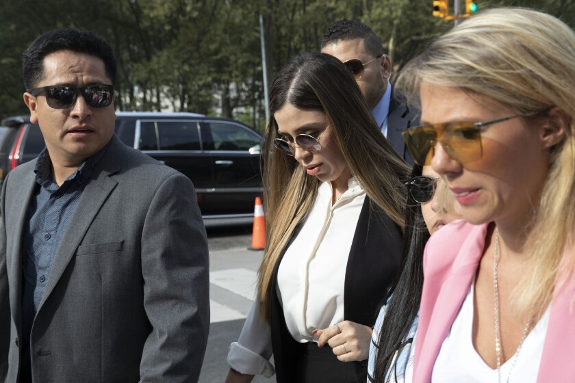 "Emma Coronel Aispuro, center, wife of Mexican drug lord Joaquin ""El Chapo"" Guzman."