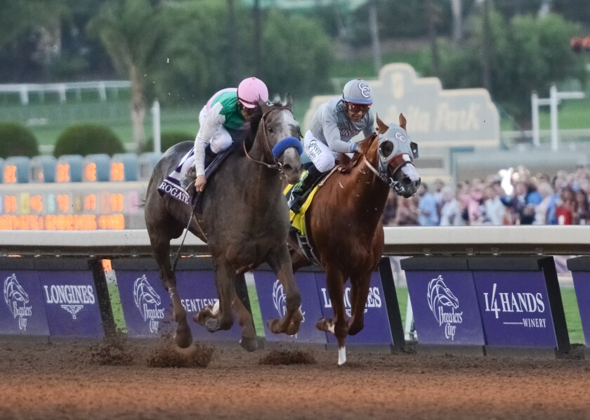 Arrogate (left) defeated California Chrome in the 2016 Breeders' Cup Classic at Santa Anita Park in Arcadia. He is expected to return to defend is title this year at Del Mar.