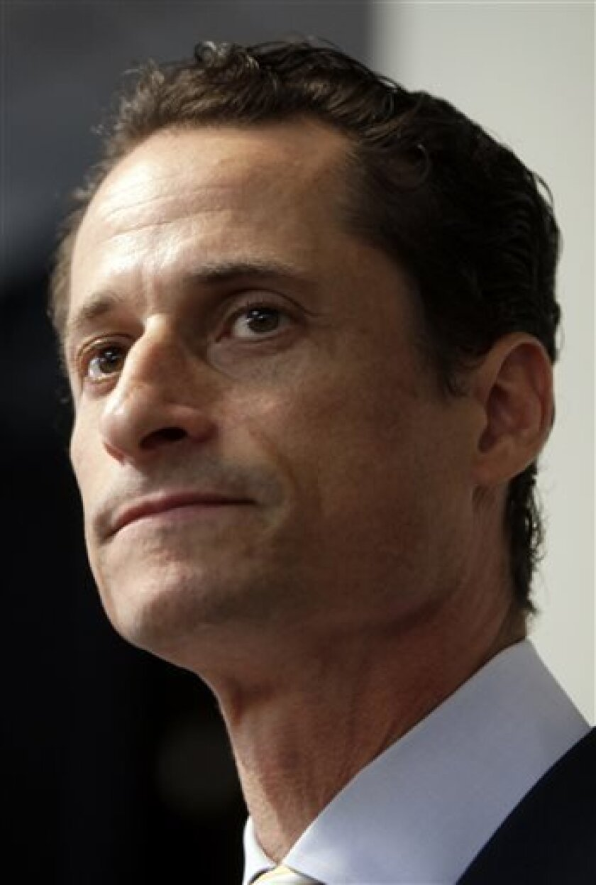 FILE - In a June 16, 2011 file photo, Anthony Weiner speaks to the media during a news conference in New York. The NBC New York-Marist Poll was released late Tuesday. It shows Weiner getting 15 percent of the vote in a potential Democratic primary, behind 26 percent for City Council Speaker Christine Quinn. Other Democratic candidates got between 2 and 12 percent. ut 50 percent of registered Democrats say they wouldn't consider voting for Weiner, while 46 percent would think about it. (AP Photo