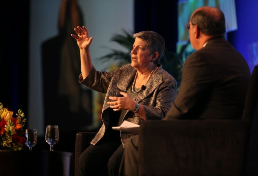 University of California President Janet Napolitano delivered the keynote address at the Association of Community College Trustees' Leadership Congress in San Diego on Thursday. Following her talk, she sat down with the organization's president, J. Noah Brown, and answered questions from attendants.