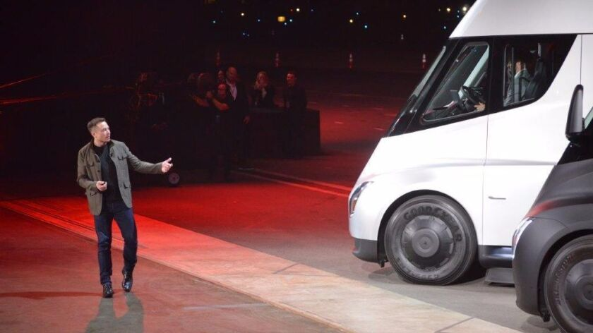 Tesla CEO Elon Musk unveils the Semi electric truck in 2017