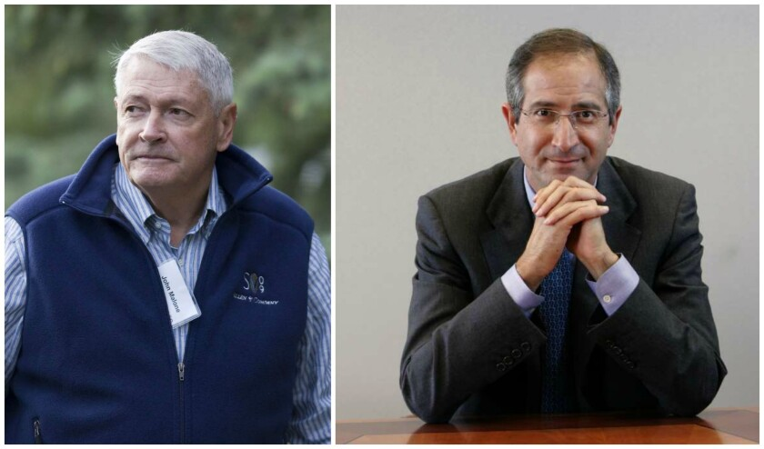Liberty Media's John Malone, left, and Comcast's Brian Roberts have clashed in the past.