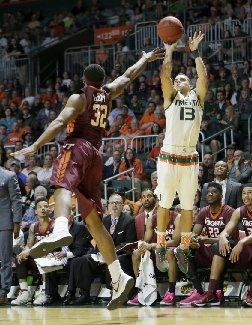 Miami guard Angel Rodriguez (13) shoots as Virginia Tech forward Zach LeDay (32) defends during the first half of an NCAA college basketball game Wednesday, Feb. 17, 2016, in Coral Gables, Fla. Miami won 65-49. (AP Photo/Alan Diaz)