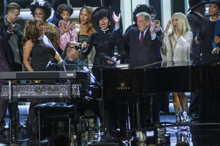 Stevie Wonder performs onstage during his tribute.