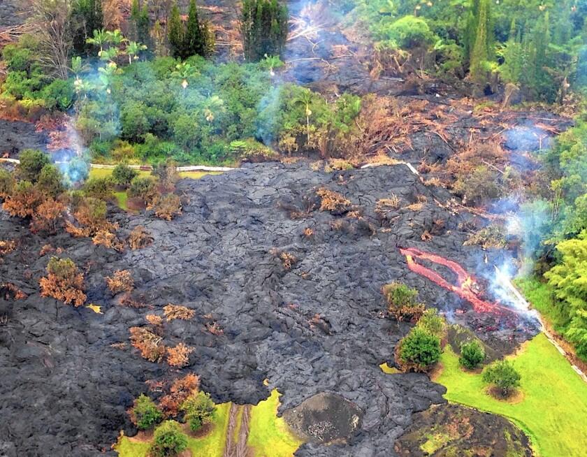 Lava from Kilauea volcano makes its way toward the town of Pahoa on the Big Island.