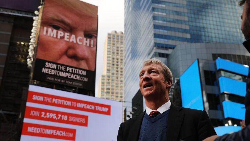 Tom Steyer's drive to impeach President Trump includes a billboard in New York's Times Square.