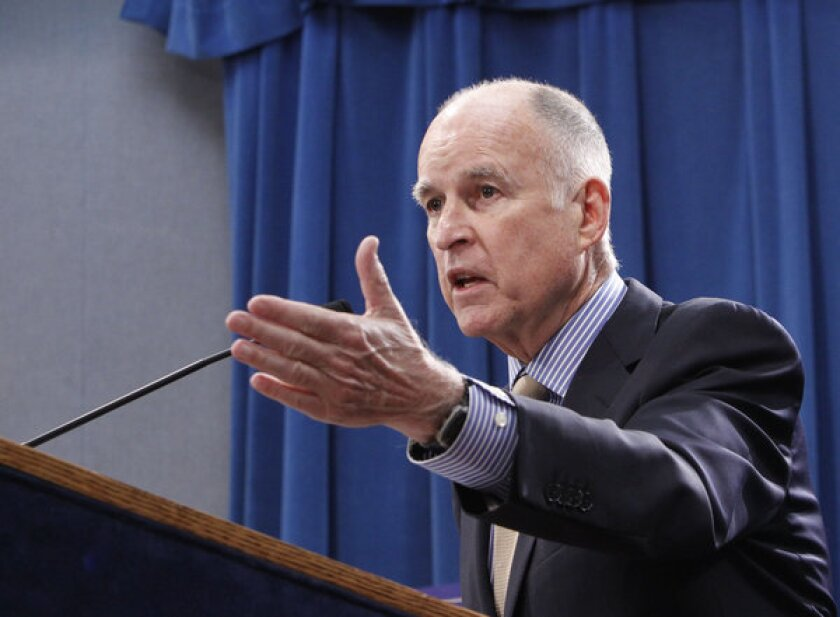 Gov. Jerry Brown at a Capitol news conference Tuesday.