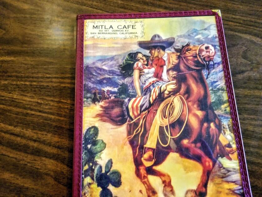 Menu from Mitla Cafe, San Bernardino