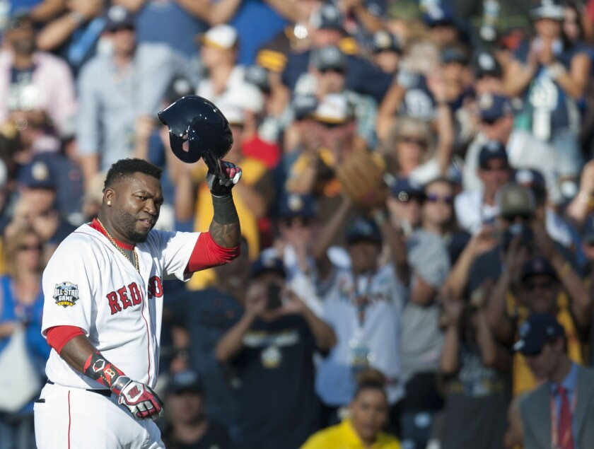 The Red Sox' David Ortiz acknowledges the crowd as he leaves the game during the American League's 4-2 victory over the National League during the 2016 MLB All-Star Game at Petco Park in San Diego on Tuesday, July 12, 2016. (Kevin Sullivan/The Orange County Register via AP)