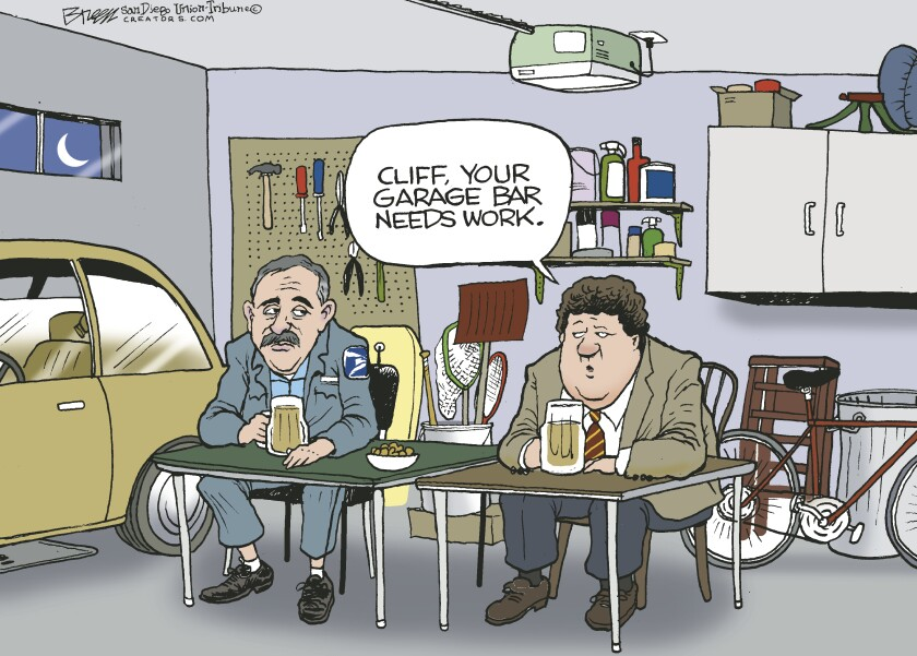 In this Breen cartoon, Cliff and Norm from 'Cheers' drink in Cliff's garage due to bars closed by the virus