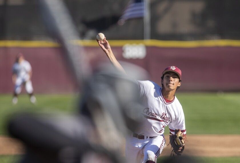 Ocean View's Gavin Kennedy pitches during a Golden West League game against Segerstrom on Friday, Ma