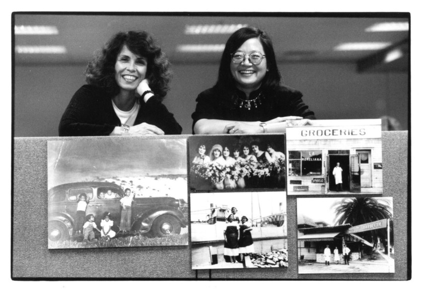 (L-R) - A photograph ofCarolyn Kozo Cole and Kathy Kobayashi (co-authors), when the Shades of LA boo