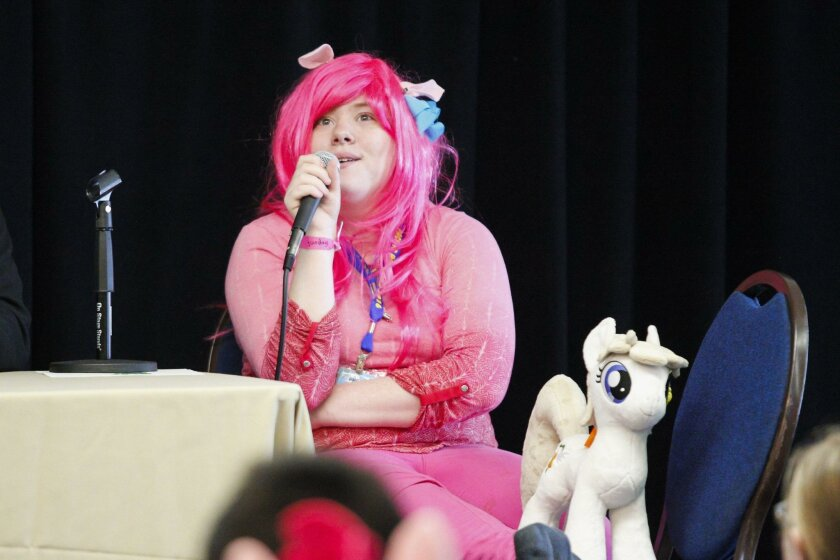 """""""Keyframe"""" speaks on a panel for aspiring voice actors at Pacific PonyCon at the Kona Kai Resort on Shelter Island on Sunday."""